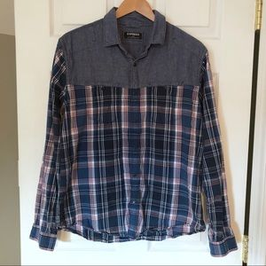 Express | Jean Plaid Button Up Long Sleeve Top